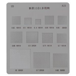 BGA Stencil A33, (pitch 0.65 mm, pitch 0.5 mm, pitch 0,85 mm, pitch 0,75 mm, pitch 0,7 mm, pitch 0,62 mm, pitch 0,4 mm, universal)