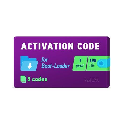 Boot-Loader 2.0 Código de activación (1 año, 5 códigos x 100 GB)